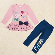 retail girl clothing set Nova kids girl New lovely cartoon Kids Clothes Sets Autumn casual design cloth for girl FG5242(China (Mainland))