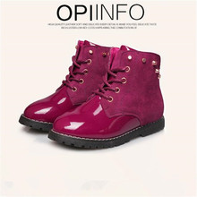 2016 autumn and winter new Children's shoes The boy of the girls Leather shoes Grind arenaceous snow boots upset Martin boots(China (Mainland))