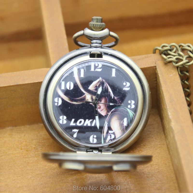 2015 New Bronze Vintage Pendant Cartoon Pocket Watch Relogio LOKI De Bolso Pocket Watch