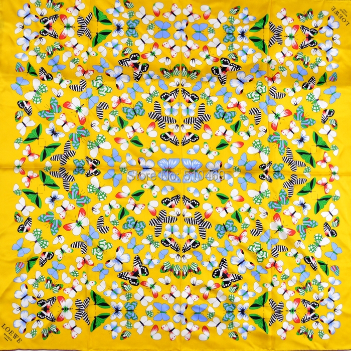 2015 Yellow Brand Silk Shawl Scarf Printed For Women Pure Silk Twill Big Square Scarf Autumn Butterfly Pattern Scarf Wraps(China (Mainland))
