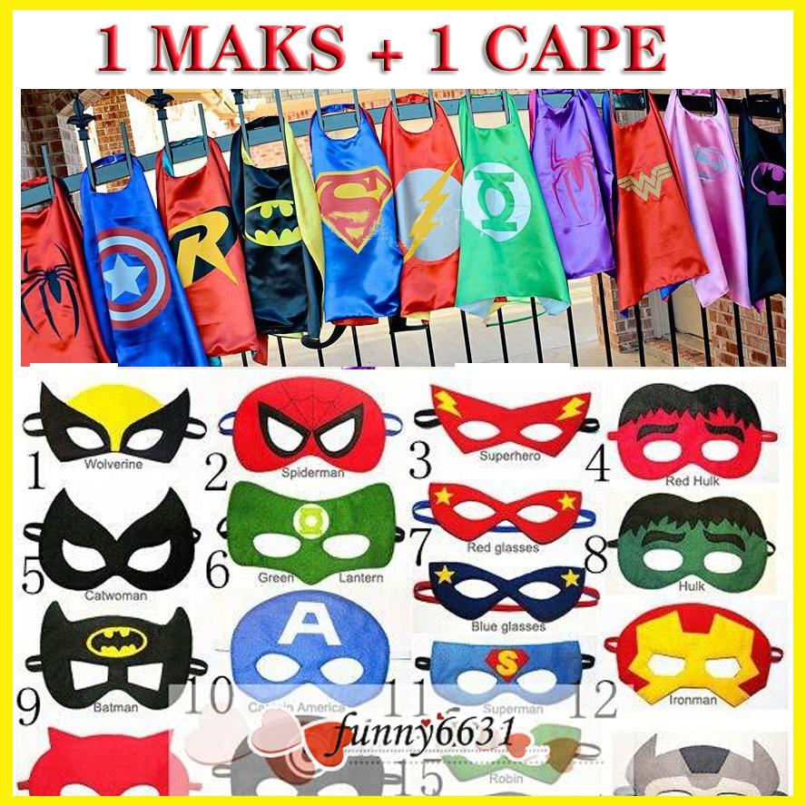 Children's Costume Superhero cape (1 Cape +1 Mask) - Super Hero Costume for Children Halloween Christmas Party Costumes for Kids