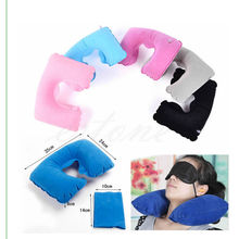 Inflatable Travel Pillow Air Cushion Neck Rest U-Shaped Compact Plane Flight(China (Mainland))