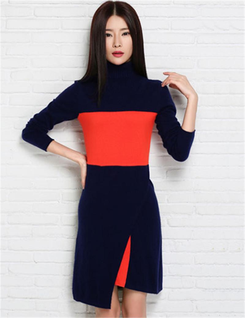 Women Slim Style Cashmere Vintage Dress Spring&Autumn Turtleneck Mini Sweater Dresses 2015 New Design Patchwork Knitwear Female(China (Mainland))