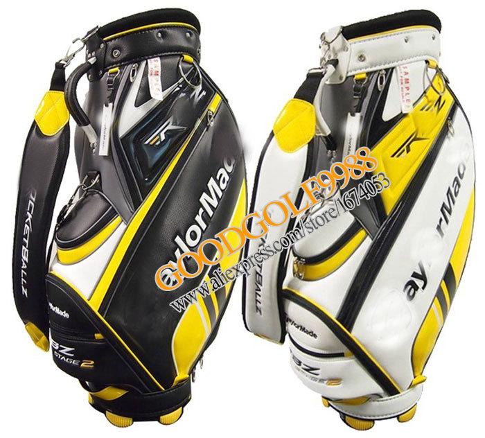 New Golf bag High quality PU STAFF BAG color Yellow/Black Staff golf Clubs bags Free shipping(China (Mainland))
