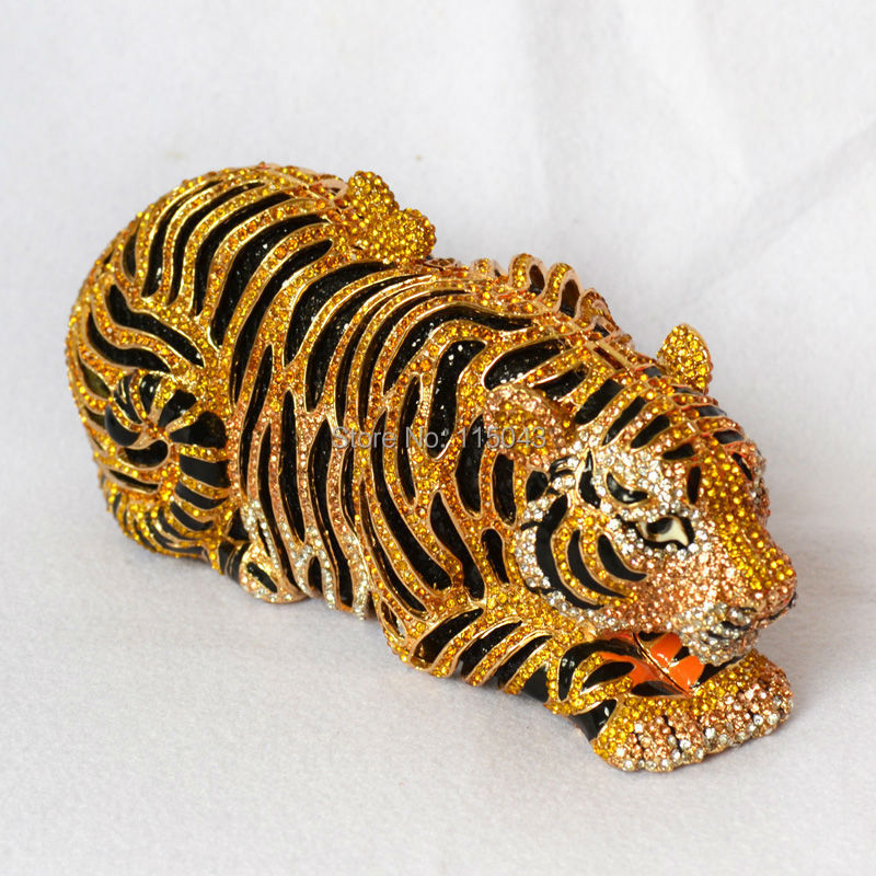 European American Style Fashion Animal Tiger Crystal Evening Clutches Purses Handbags Womens Clutch Bags 2014 Newest - Mondex Industries CO. store