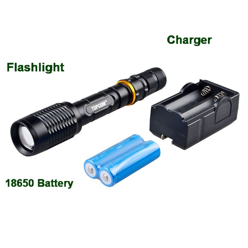 New Powerful Zoom 2000 lumen lantern rechargeable 2pc 18650 battery Cree XM-L T6 Big LED Tactical Police Flashlight Torch(China (Mainland))