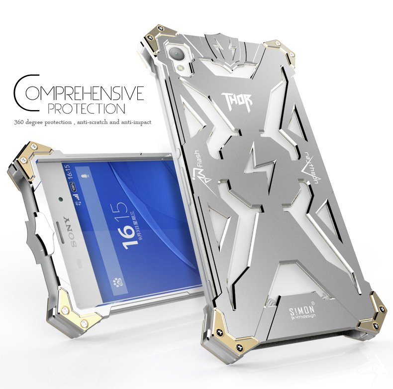 New Original Design Cool Metal Aluminum Armor THOR IRONMAN protect phone cover shell case Sony Xperia Z1 Z2 Z3 Z4