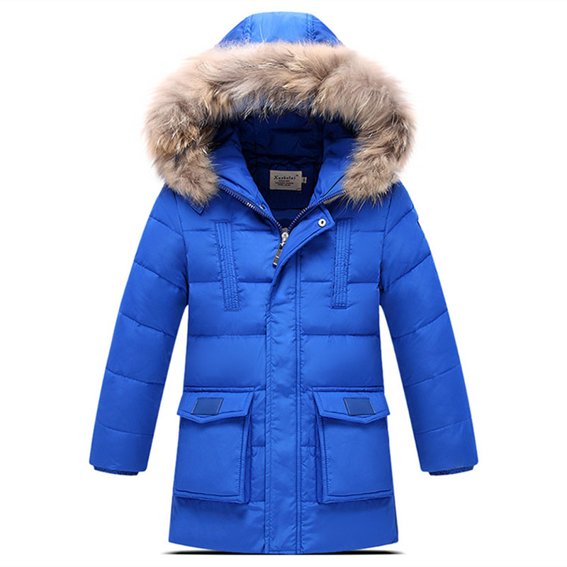 120-150cm Russian Winter Down Coat Children Boys Outerwear Jacket Warm Overcoat Thickening Child Kids Clothes Real Fur Hat(China (Mainland))