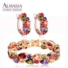 Hot Sale Rose Gold Plated Mona lisa Earring and Bracelet Jewelry Set Multicolor Cubic Zircon Fashion Jewelry For Women(China (Mainland))