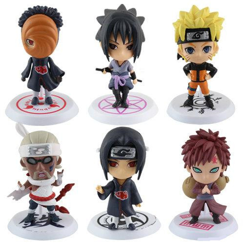 Free Shipping 6pcs/ Set Q Edition Naruto Anime Action Figures Collection PVC Naruto Figures Model toy Set Action Figure Toys(China (Mainland))