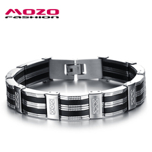 Hot Sale New 2016 Fashion Jewelry Black Silicone Mix Stainless Steel Personality Classic Men Bracelet Male Bangles MPH850(China (Mainland))