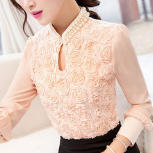 New style Women Chiffon blouse Sexy Flower Beaded lace Tops long sleeved Casual shirt Patchwork Women clothing(China (Mainland))