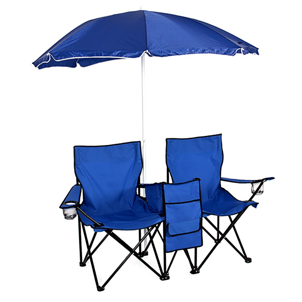 Double Fold Up Beach Camping Chair Picnic Chair w Umbrella Table FGH325 in Fo