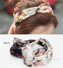 Retro flowers Women Turban Twisted Knotted Headband Geometric Printing Wide Stretch Hair Band Girl Yoga Female Hair Accessories