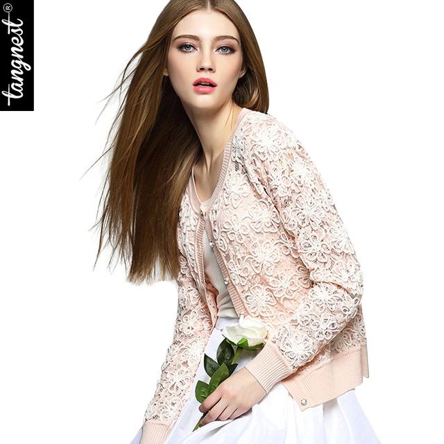 Куртка женщин Chaquetas Mujer 2016 весна элегантный сладкий кружева однобортный полный ...