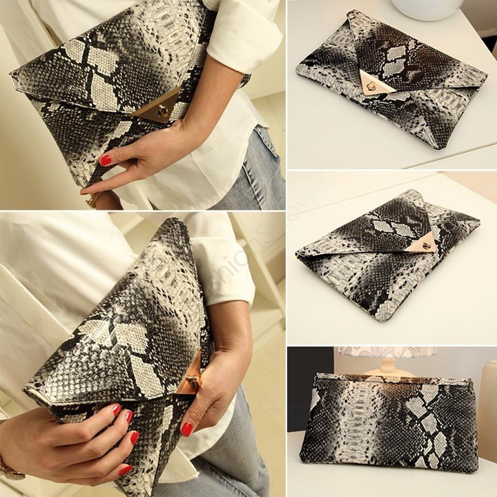 Luxury Evening Bag New Fashion snake pattern Clutch Women wallet Purse bags Handbag Gift desigual Genuine PU leather Clutches(China (Mainland))