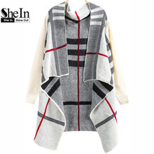 SheIn Fashion Spring Knitwear Women's Brand Clothing Cape Long Knitting Sweaters Casual White Long Sleeve Plaid Knit Cardigan(China (Mainland))