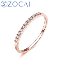 ZOCAI Natural 0.12 CT Certified Diamond Wedding Band Ring Round Cut Diamond 18K Rose Gold (Au750) White Gold & Yellow Gold