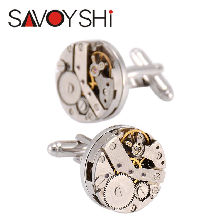 NVT Jewelry Classic Shirt Cufflinks for Men Brand High Quality Silver Mechanical Watch Movement Cuff Buttons Business Cufflinks(China (Mainland))