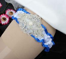 Vintage Ribbon Wedding Garter with Rhinestones Applique and Pearl Char Handmade OEM Order