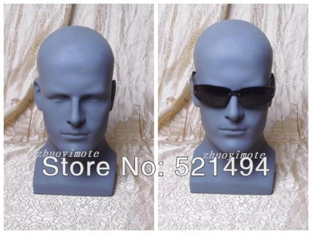 Grey Color Fiberglass Male Mannequin Wig Stand Hat Display Head(China (Mainland))