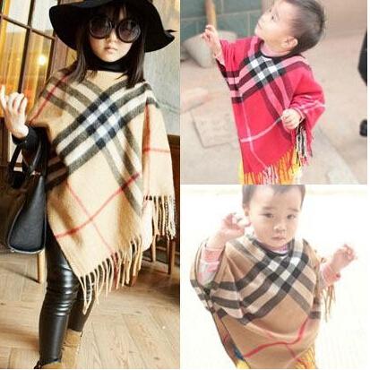 2015 girls Plaid tassel Shawl Top Quality Childrens Cape girl Pashmina kids cotton tippet new spring fashion(China (Mainland))