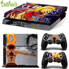 ONE PIECE skin sticker for sony playstation 4 console and controllers PVC vinyl sticker for ps4 accessories