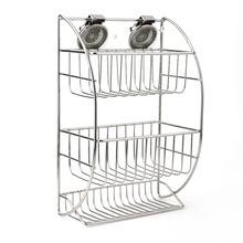 1Pc Silver Stainless Steel Small Three Tier Corner Shower Bathroom Basket Organiser Tidy(China (Mainland))