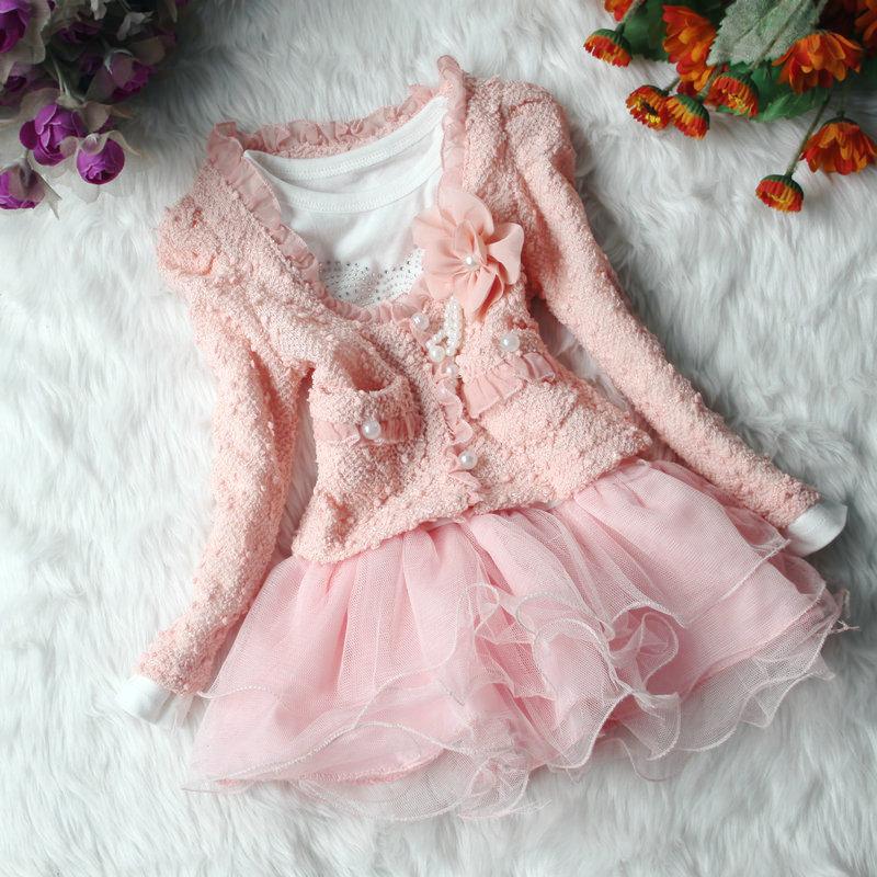 hot sale Autumn winter thunder silk long sleeve girls children suit flower princess dresses beige pink party two piece(China (Mainland))
