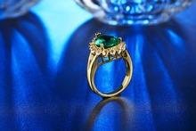925 sterling silver Jewelry wedding rings For Women fashion Bijoux Ruby Emerald Green gem CZ Diamond