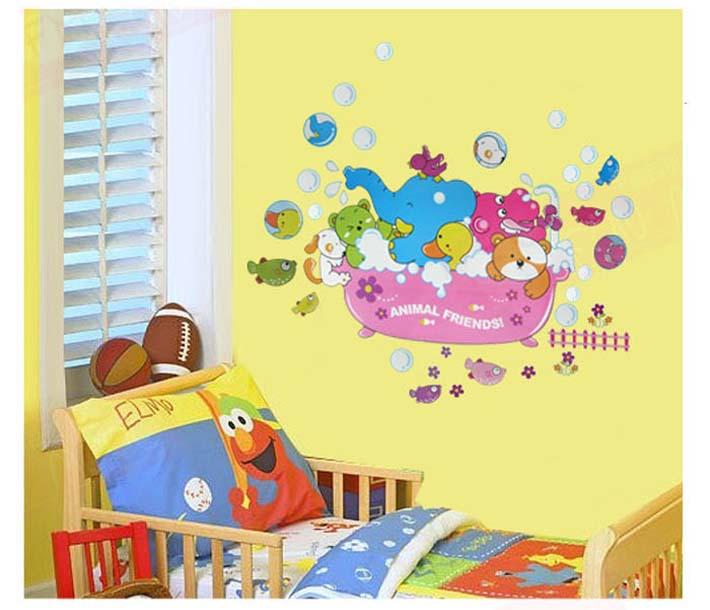 2015 2 Pieces Cartoon Animal Elephant Bear Duck Fish Stickers For Baby Nursery Room Kids Decal Decor Bedroom Home Wall Sticker(China (Mainland))