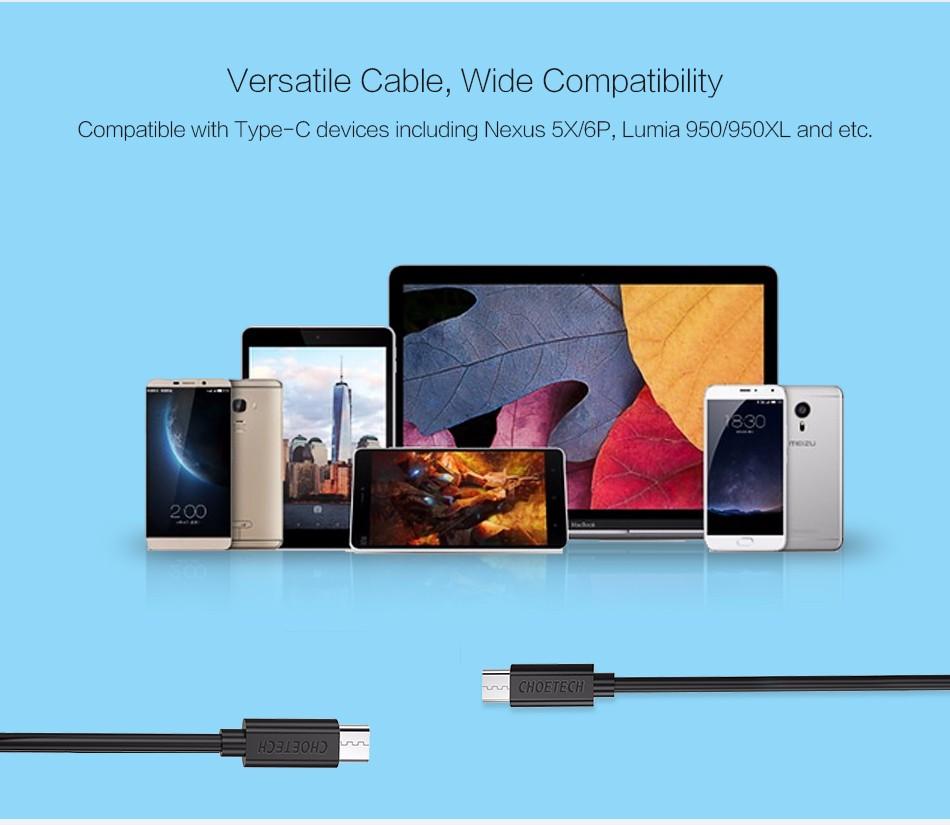 CHOETECH Type-C 3.1 USB C Cable 3M Long Data Sync Charge Cable for Nexus 5X 6P Nokia N1 Macbook ZUK Z1 xiaomi 4C MX5 Pro