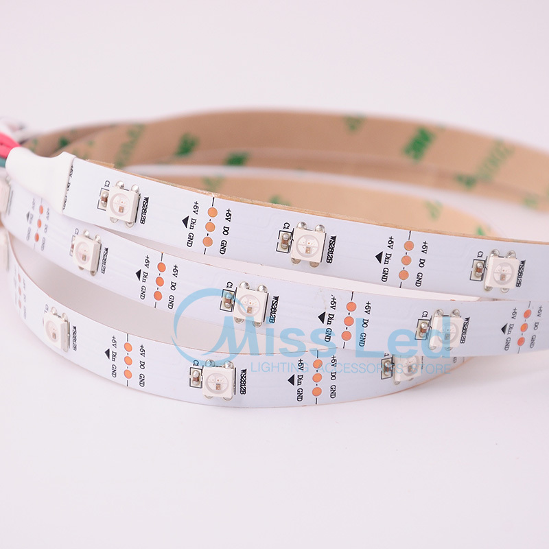 New style 1M 30 led/m WS2812B WS2812,DC 5V Led pixel strip Light non-waterproof,RGB SMD 5050,White PCB individually Addressable(China (Mainland))