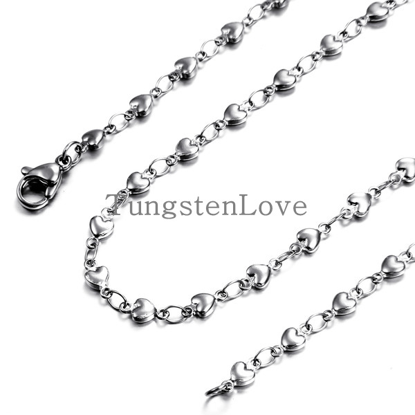 3.3mm Width New Arrivals 18 Inch Stainless Steel Flat Love Ladies Hearts Chain Link Necklace for Women(China (Mainland))