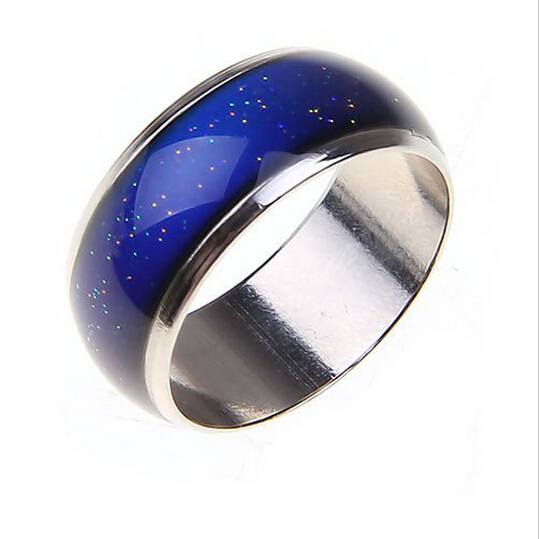 6mm Stainless steel Changing Color Mood Rings Emotion Temperature Ring women men Jewelry Factory direct sale Free shipping(China (Mainland))