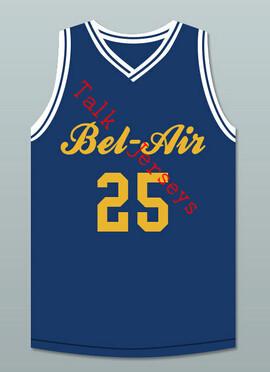 Carlton Banks 25 Bel-Air Academy Basketball Jersey blue,yellow Custom The Fresh Prince of Bel-Air basketball jersey any name(China (Mainland))
