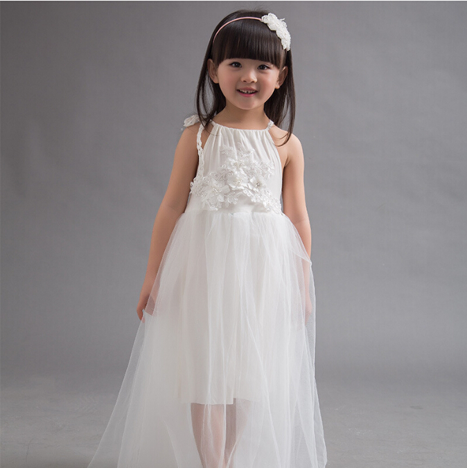 Girls Summer Dress Solid Princess 2015 Sleeveless Brace Drawstring With Lace Children Clothes Long Style 5pcs/ LOT Evening Waer <br><br>Aliexpress