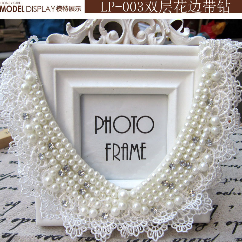 Crystal Flower Charm Necklace Collar Necklace Accessories pearl fake collar with lace surrounded(China (Mainland))