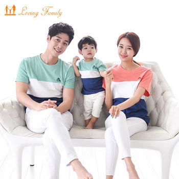 Family Fashion Striped Summer Short-sleeve T-shirt Matching Family Clothing Outfits For Mother Daughter And Father Son