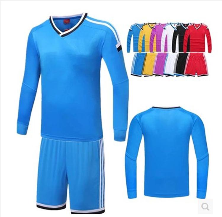 custom made men's blank long sleeve soccer jersey ,plain soccer training suit can custom any logo .(China (Mainland))