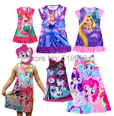 2015 Kids monster high dress girls Summer cartoon costume Rapunzel dress casual Cinderella Ariel Cartoon Dress(China (Mainland))