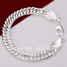 Free shipping H101 Factory Price Silver Plated flat type chain link Bracelet silver jewelry for men,copper fashion bracelets(China (Mainland))