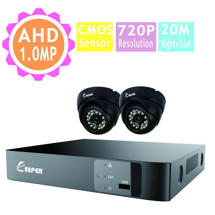 Здесь можно купить  KEEPER 1.0MP AHD Video Surveillance CCTV system HDMI 4CH Full HD 720P IR Surveillance Kit 2PCS Mini Indoor Dome Camera  Безопасность и защита