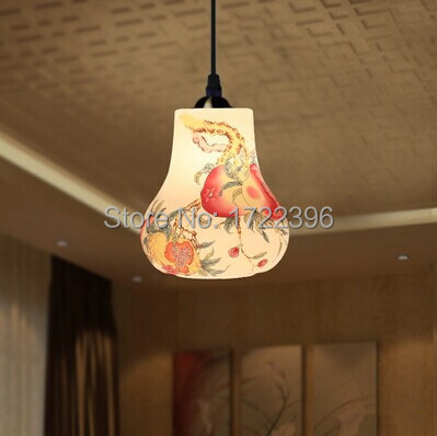 Фотография Chinese Style,Jingdezhen Ceramic,Carven,Pure hand,Hand-painted,1 Light,Warm light,For dining room living room,E27,Bulb Included