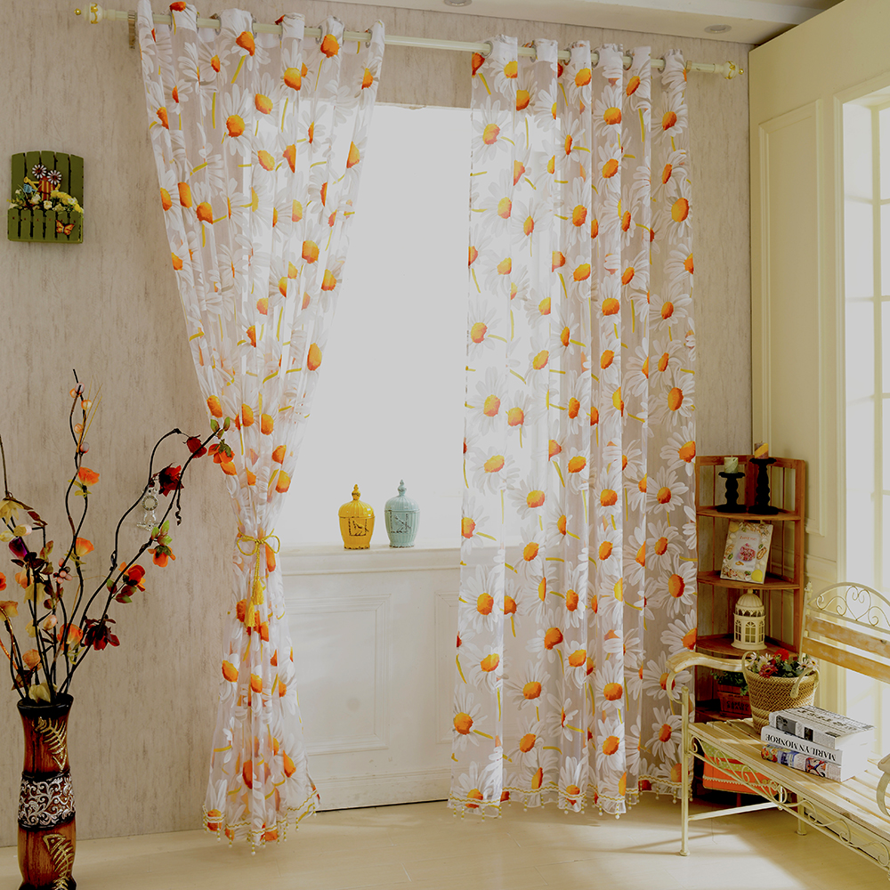 New White Orange 1*2.5M Sunflower Voile Window Panel Sheer Tulle Drapes Decorative Curtains for Living Room Bedroom Home Decor(China (Mainland))