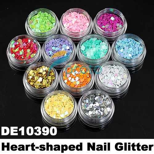 12 Pots of Colorful Heart Shape Glitter Flakes Decoration for 3D Nail Art Beauty SKU:D0038(China (Mainland))
