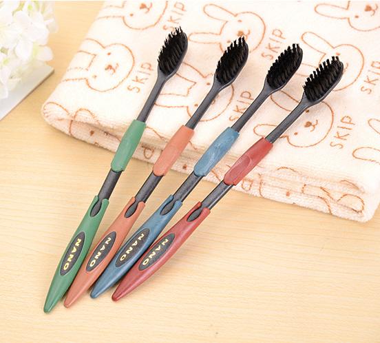 4PCS Double Ultra Soft Toothbrush Bamboo Charcoal Nano Brush Oral Care New(China (Mainland))
