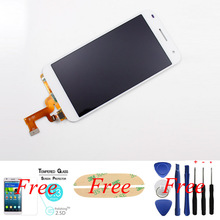 100%Original White For Huawei Ascend G7 LCD display Touch Screen Digitizer Assembly glass lens replacement+free tempered glass
