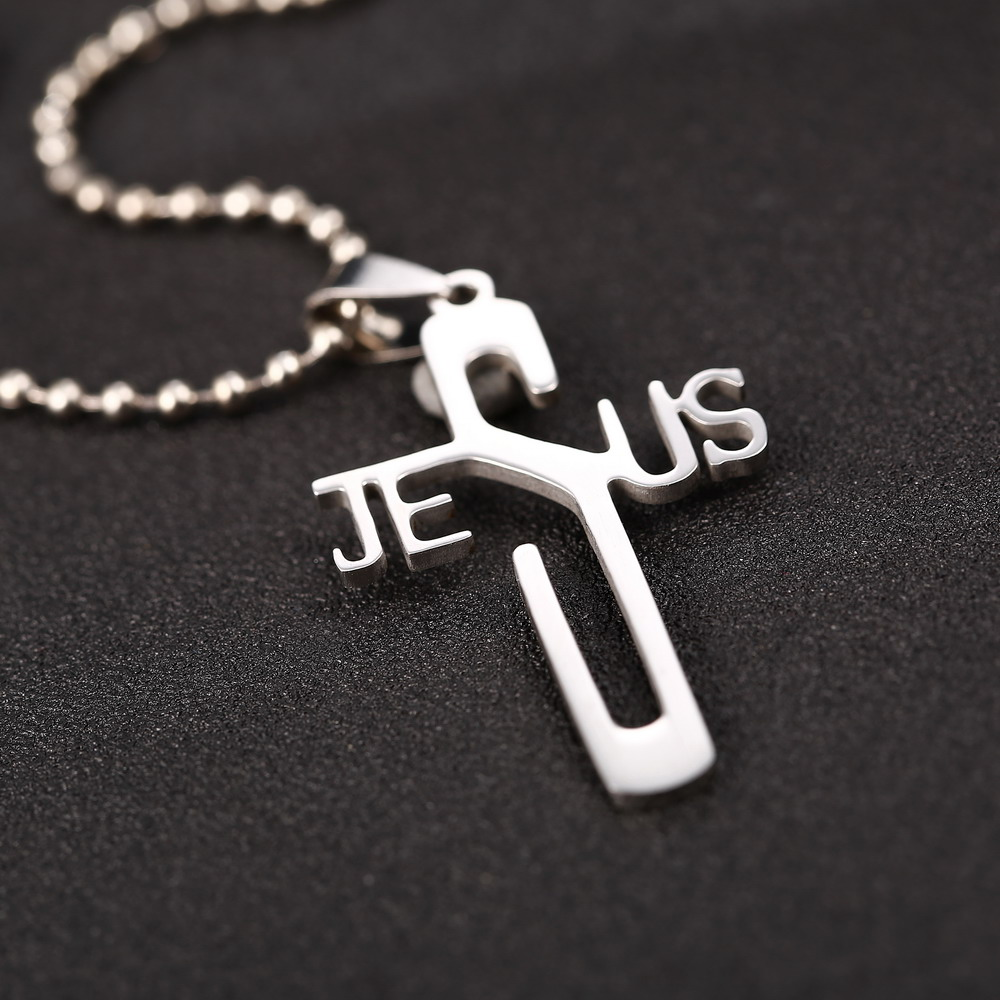 Fashion necklaces JESUS cross Pendant 316L Stainless Steel necklaces & pendants Ball Chain women & men jewelry Cross Necklace(China (Mainland))