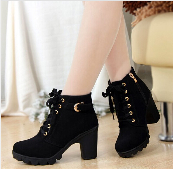 2015 New Autumn Winter Women Boots Solid Lace-up European Ladies PU Leather Fashion - SAR store